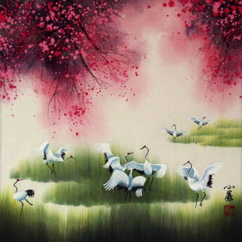"See how ""Four Seasons Cranes Watercolor Painting"" would look after being professionally framed"