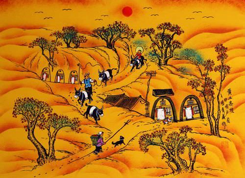 Loess Plateau - Chinese Folk Art Painting