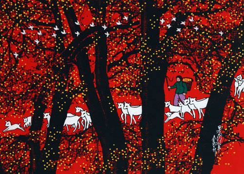Grazing Sheep in the Orchard - Chinese Folk Art Painting