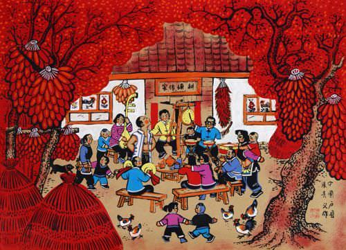 Drum and Music Circle - Chinese Folk Art Painting