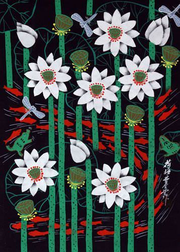 Fish in Lotus Pond<br>Chinese Folk Art Painting