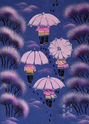 School Bound - Chinese Umbrella Folk Art Painting