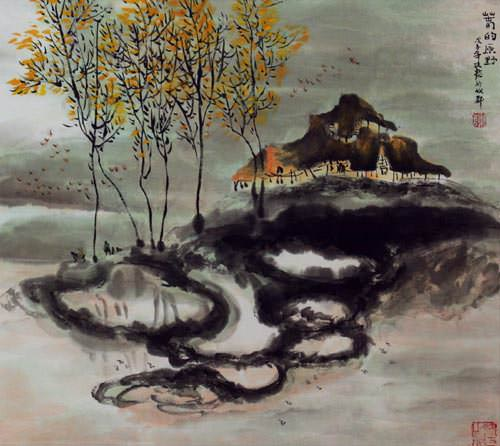 Abstract Chinese House - Landscape Painting