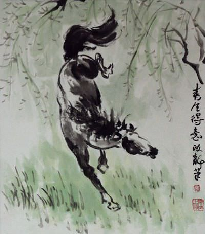 "See how ""Spring Wind, Proud Steed - Chinese Horse Painting"" would look after being professionally framed"