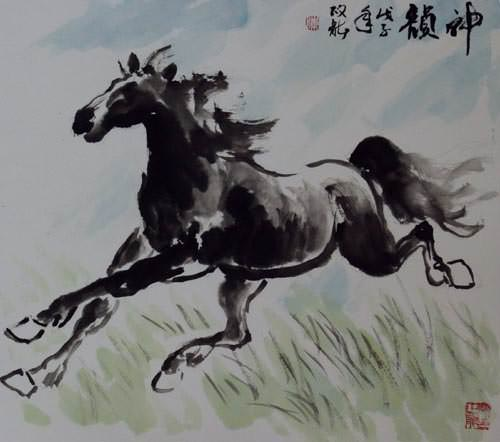 "See how ""Poetic Spirit - Chinese Horse Painting"" would look after being professionally framed"