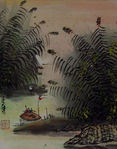 Cranes and Boat at the River Bank - Asian Landscape Painting