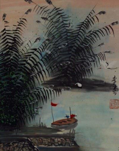 Boat and Cranes at the River Bank - Chinese Landscape Painting