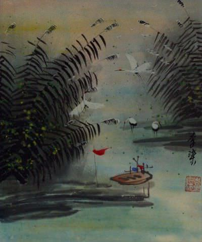 Boat and Cranes at the River Bank<br>Chinese Landscape Artwork