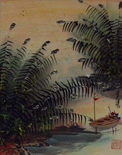 Cranes and Boat at the River Bank<br>Chinese Landscape Artwork