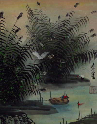 River Bank<br>Cranes and Boat<br>Chinese Landscape Painting