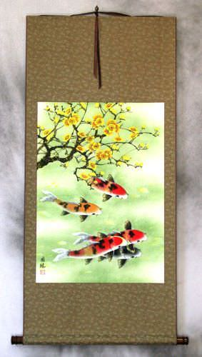 Koi Fish & Plum Blossoms - Chinese Wall Scroll