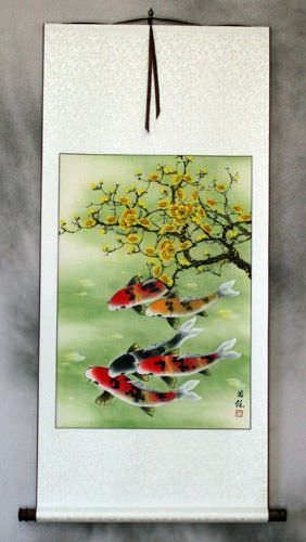 Koi Fish & Plum Blossoms - Asian Silk Wall Scroll