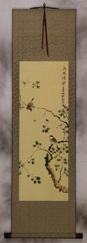 The Couple's Gaze - Bird and Flower Wall Scroll
