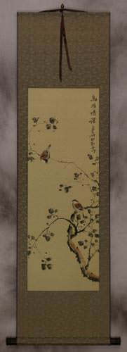 The Couple's Gaze<br>Asian Bird and Flower Wall Scroll