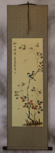 Autumn Leaves Deep Feelings - Chinese Bird and Flower Wall Scroll