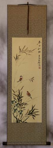 Summer Wishes<br>Asian Bird and Flower Wall Scroll