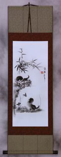 Charcoal Kittens and Butterfly Wall Scroll