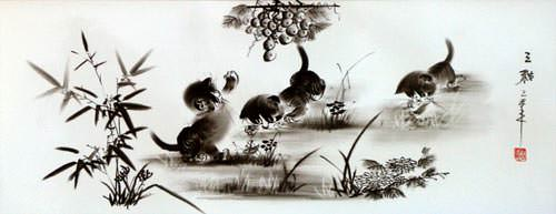 Charcoal Kittens Wide Asian Drawing