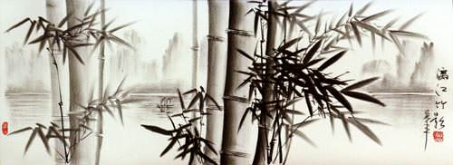 Chinese Charcoal Bamboo Landscape Drawing