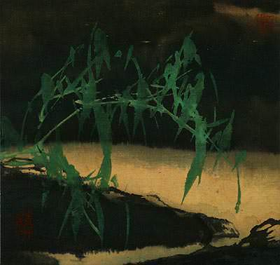 "See how ""Abstract Bamboo at Twilight - Chinese Painting"" would look after being professionally framed"