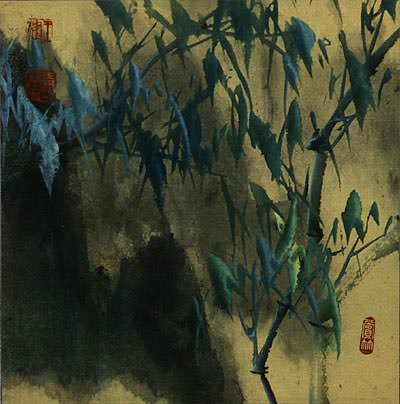 Abstract Blue Green Bamboo at Twilight<br>Chinese Painting