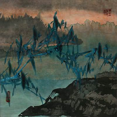 Twilight Bamboo<br>Chinese Landscape Painting