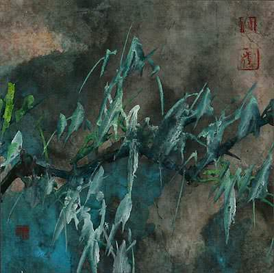 Abstract Blue Green Bamboo<br>Chinese Painting