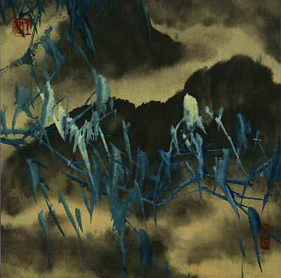 Abstract Blue Green Bamboo at Twilight - Chinese Painting