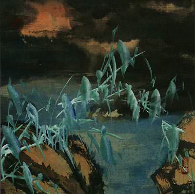 Twilight Bamboo and River<br>Chinese Landscape Painting