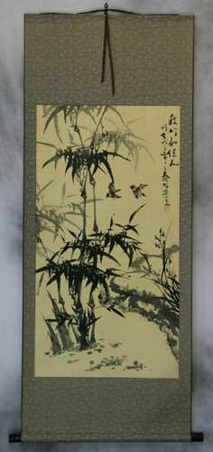 Big Chinese Black Ink Bamboo Wall Scroll