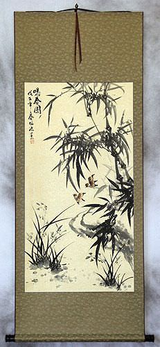 Bamboo and Birds - Chinese Black Ink Wall Scroll