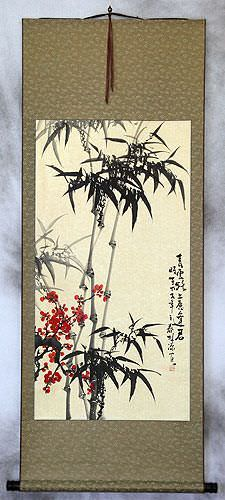 Huge Chinese Bamboo and Plum Blossom Wall Scroll