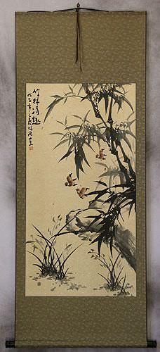 Large Chinese Black Ink Bamboo Wall Scroll