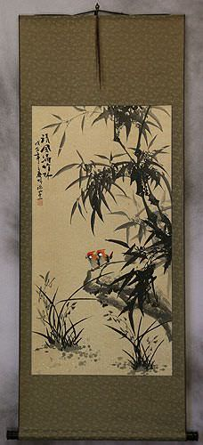 Asian Black Ink Bamboo and Birds Wall Scroll