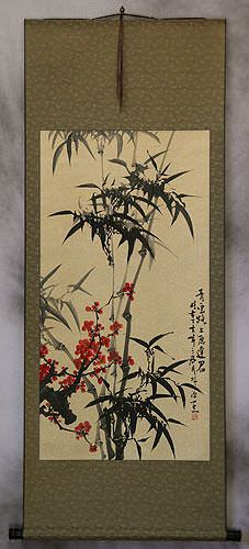 Black Ink Bamboo and Plum Blossom Asian Wall Scroll