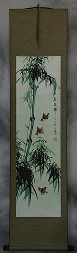 Birds and Chinese Bamboo Wall Scroll