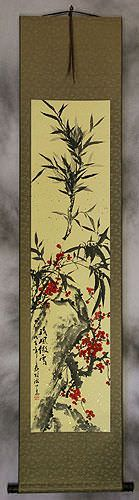 Bamboo and Plum Blossom Wall Scroll