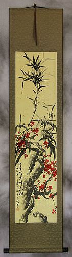 Plum Blossom and Bamboo Wall Scroll