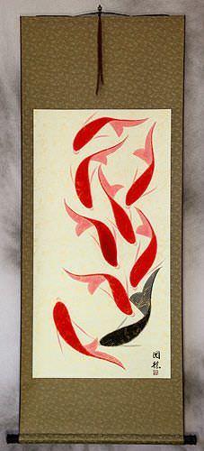 Huge Nine Abstract Koi Fish Asian Wall Scroll