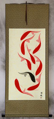 Jumbo Nine Abstract Koi Fish Wall Scroll