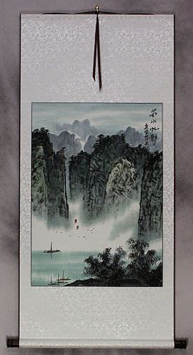 Southern Mountains and River Landscape Wall Scroll