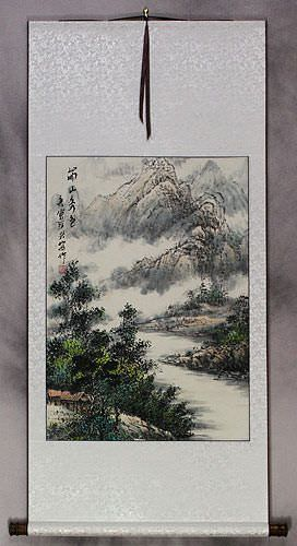 Riverside Village Home Landscape Wall Scroll
