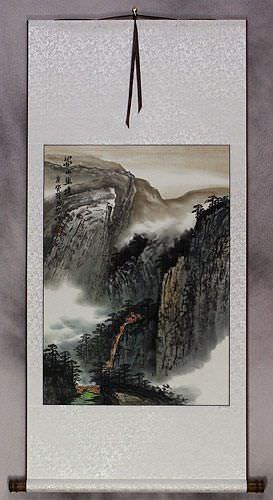 Serenity of a Sichuan Village Landscape Wall Scroll