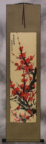 Red Plum Blossom Colorful Wall Scroll