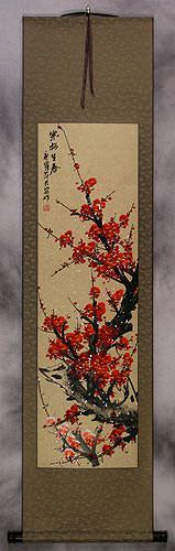 Vivid Red Plum Blossom Wall Scroll