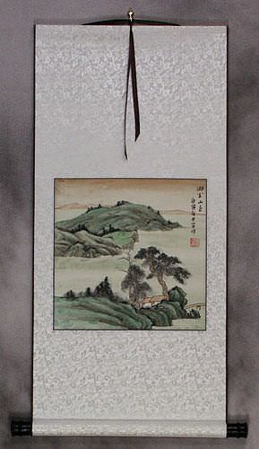 Scenic Lakes and Mountain - Landscape Wall Scroll
