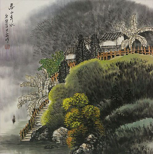 "See how ""Chinese Village Landscape Painting"" would look after being professionally framed"
