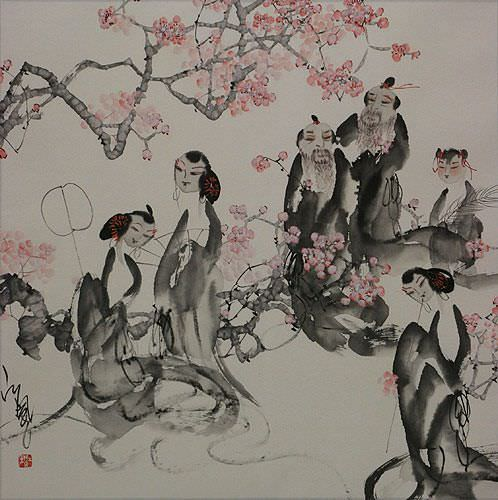 "See how ""Jiang Feng's Gathering of the Nobles - Abstract Chinese Art"" would look after being professionally framed"
