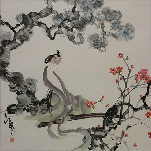 Woman and Plum Blossoms Abstract Asian Painting