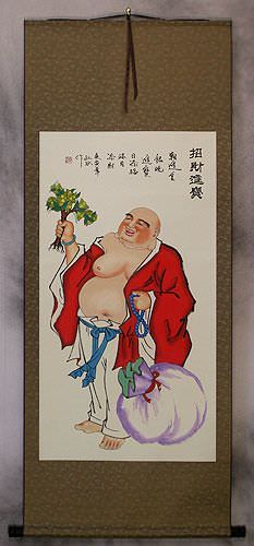 Happy Longtime Buddha<br>Chinese Wall Scroll